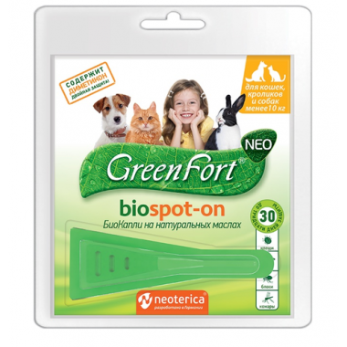 GREEN FORT Neo Биокапли от блох и клещей для кошек и собак до 10 кг