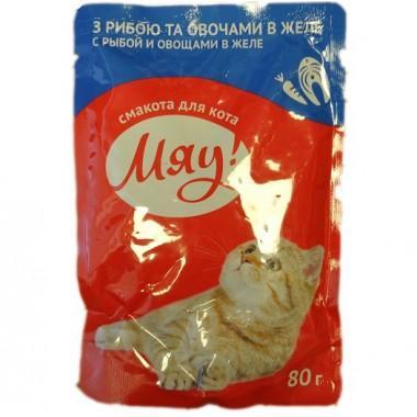 """""""Мяу !"""" 80 г (пауч) корм для взрослых кошек с рыбой и овощами в желе"""