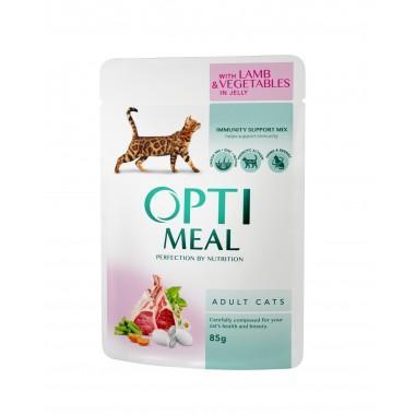 """""""Optimeal"""" 85 г защита иммунитета консервированный корм для кошек с ягненком и овощами в желе"""
