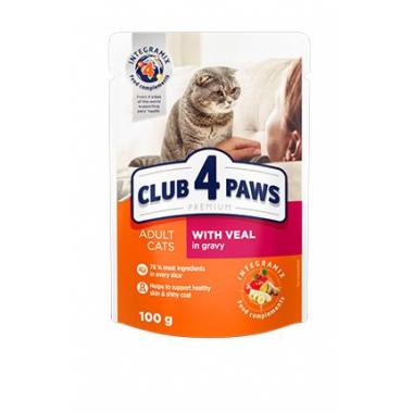 Club 4 Paws 100 г Премиум консервированный корм для кошек с телятиной в соусе