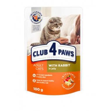 Club 4 Paws 100 г Премиум консервированный корм для кошек с кроликом в желе