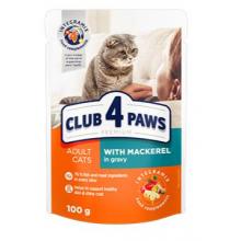 Club 4 Paws Премиум консервированный корм  для кошек с макрелью в соусе