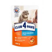 Club 4 Paws Премиум консервированный корм для кошек с лососем в желе