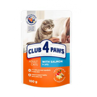 Club 4 Paws 100 г Премиум консервированный корм для кошек с лососем в желе