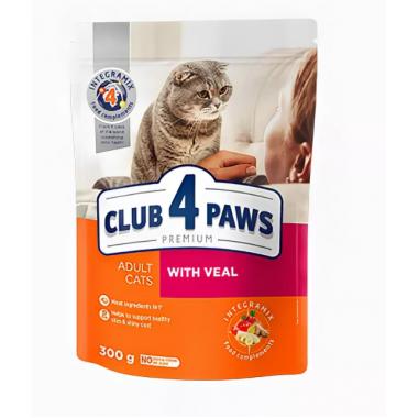 Club 4 Paws 0,3 кг Премиум сухой корм для взрослых кошек с телятиной