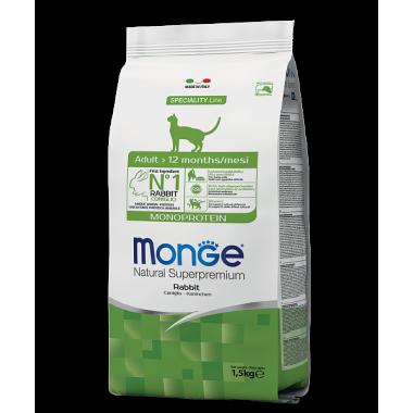 Monge сухой корм монопротеиновый для взрослых котов с кроликом