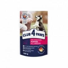 Club 4 Paws Премиум консервированный корм для щенков с курицей в желе (20+4) 2,4 кг
