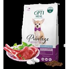 """Гипоаллергенный сухой корм """"Optimeal"""" для собак миниатюрных и малых пород  (с высоким содержанием ягненка с рисом) 4 кг."""