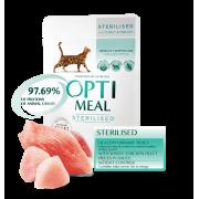 Полнорационный консервированный корм для стерилизованных кошек и кастрированных котов Optimeal (с индейкой и курицей в соусе) 85 гр.