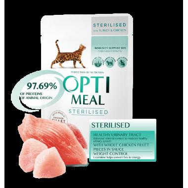 Полнорационный консервированный корм для стерилизованных кошек и кастрированных котов Optimeal (с индейкой и курицей в соусе) 85 гр. весовка