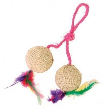 """4501 Игрушка """"TRIXIE"""" для кошки в виде 2 мячиков с кошачей мятой и перьями на верёвке 2*4,5см"""