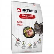 Корм Ontario для стерилизованных кошек, ягненок, 1 кг