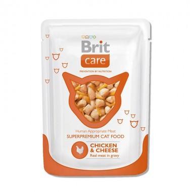 Суперпремиальный влажный корм для взрослых кошек Brit Care Cat с курицей и сыром