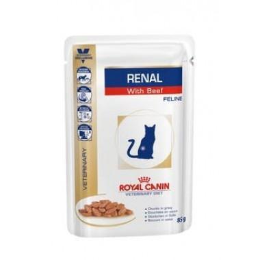 Влажный корм Renal Feline (Говядина) диета для кошек при хронической почечной недостаточности 85 гр.