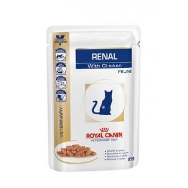 Влажный кормRoyal Canin Renal Feline (Курица) диета для кошек при хронической почечной недостаточности 85 гр.