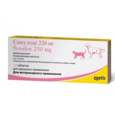 Синулокс 250 (SYNULOX) Комбинированный антибактериальный препарат (упак. 10 таб х 250 мг)