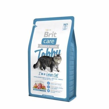 Гипоаллергенный беззерновой корм с уткой и курицей для взрослых кошек крупных пород Brit Care Cat Tobby Large Cat