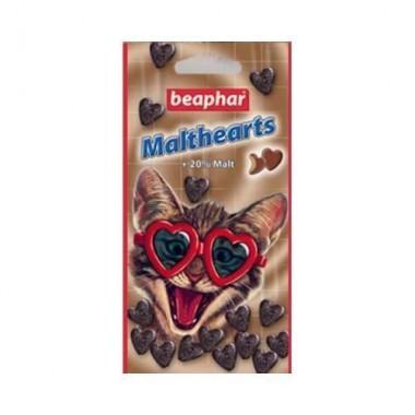 Beaphar Malt Hearts Подушечк с мальт-пастой. Средство для выведения шерсти из желудка для кошек, в форме сердечек 150 таб. 12930