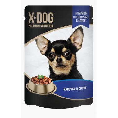 X-DOG консервы для собак курица+белая рыба, 85гр.