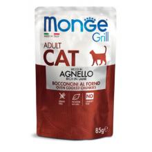 Monge пауч для взрослых кошек с кусочками ягненка в желе, 85гр