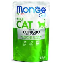 Monge Cat Grill Pouch Adult Coniglio, паучи для кошек, с кусочками кролика в желе, 85 гр.
