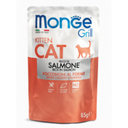 MONGE CAT Grill Kitten Salmon (пауч 85 г) кусочки в желе с лососем для котят