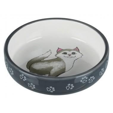 """24784 Миска """"TRIXIE"""" керамическая для кошек с коротким носом, серый , 0,3л/15 см"""