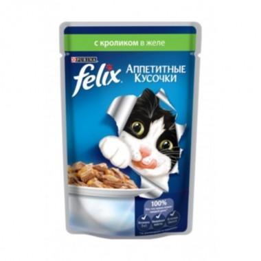 Felix Аппетитные кусочки в желе пресервы для кошек (Кролик) 85 гр.