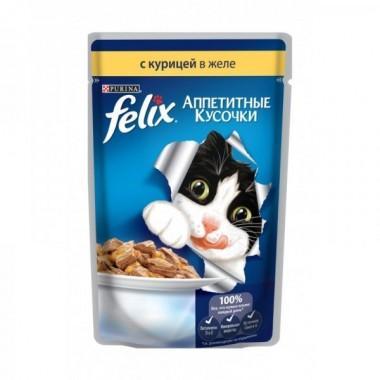 Felix Аппетитные кусочки в желе пресервы для кошек (Курица) 85 гр.