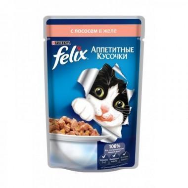 Felix Аппетитные кусочки в желе пресервы для кошек (Лосось) 85 гр.
