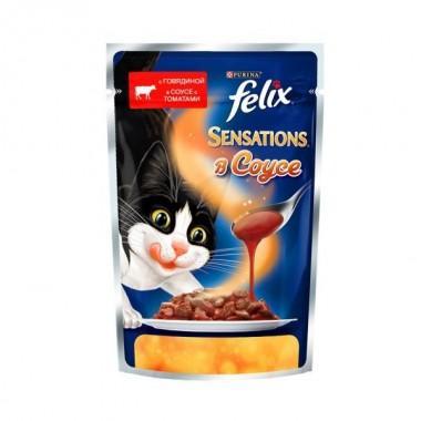 Felix Sensations в Удивительном соусе пресервы для кошек (Говядина с томатами) 85 гр.