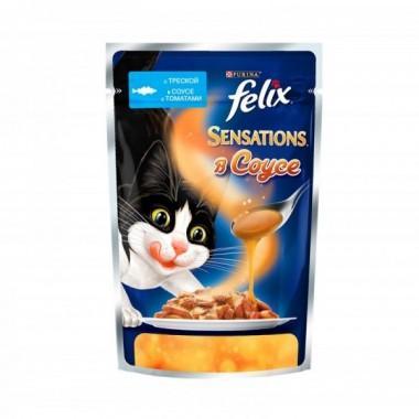 Felix Sensations в Удивительном соусе пресервы для кошек (Треска с томатами) 85 гр.