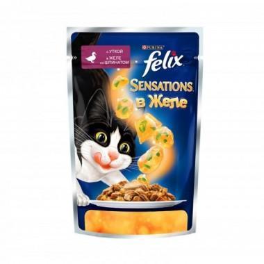 Felix Sensations пресервы для кошек в желе (Утка со шпинатом) 85 гр.