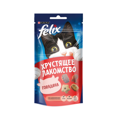 Purina Felix Хрустящее Лакомство для кошек (Говядина) 60 гр.