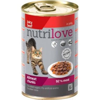Nutrilove консерва для кошек кусочки в желе (Говядина) 400 гр.