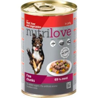 Nutrilove с говядиной, печенью и овощами для собак (в желе) 415 гр.
