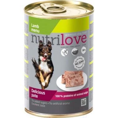 Nutrilove с ягненком для взрослых собак (паштет) 400 гр.