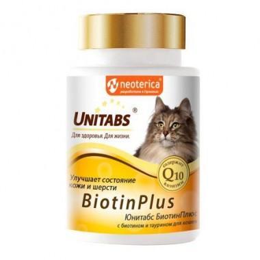 Unitabs BiotinPlus Витамины для кошек, улучшение состояния кожи и шерсти, 120 таб