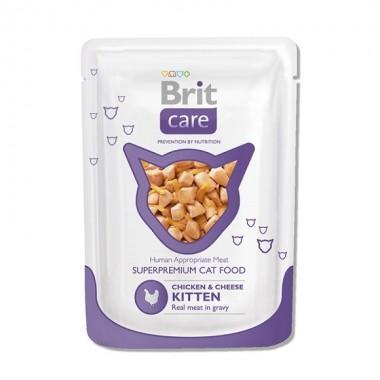 Суперпремиальный влажный корм для котят Brit Care Cat с курицей и сыром