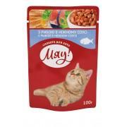 """""""Мяу"""" (пауч) корм для взрослых кошек с Рыбой в нежном соусе, 100 гр"""