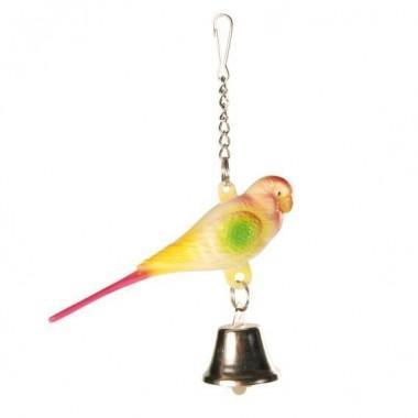 """5309 Игрушка """"TRIXIE"""" для птиц """"Попугай с цепочкой и колокольчиком"""",9 см."""