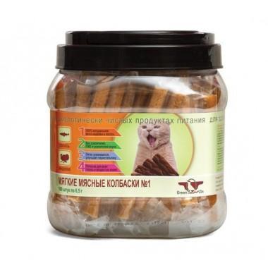 Лакомство Green QZin ПОДВИЖНОСТЬ №1, Мягкие мясные колбаски для кошек из лосося и индейки