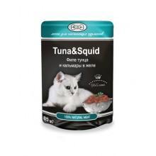 """Влажный корм """"Gina Tuna&Squid"""" для кошек с тунцом и кальмаром (в соусе)"""