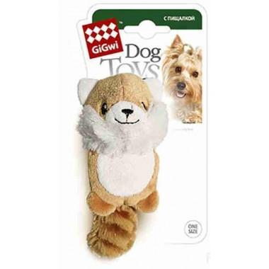 """Игрушка """"GiGwi"""" для собак """"Лисичка"""", с 2 пищалками, плюш, 9 см. (арт. 75014)"""