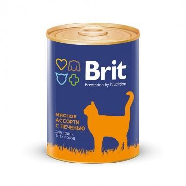 Премиальный консервированный корм для взрослых кошек мясное ассорти с печенью