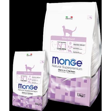 Monge Cat Sterilized Низкокалорийный корм для стерилизованных кошек ( с цыпленком)
