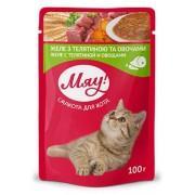 """""""Мяу"""" (пауч) корм для взрослых кошек Желе с телятиной и овощами, 100 гр"""
