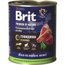 Консервированный корм BRIT Premium, говядина и сердце