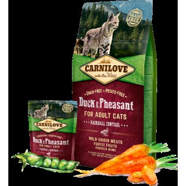 Carnilove Duck & Pheasant for Adult Cats–Hairball Control д/взросл. кошек, утка и фазан