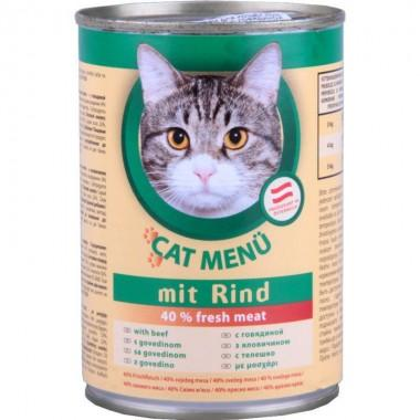 CAT Menu полнорационный консервированный корм для кошек, с говядиной (415г.)
